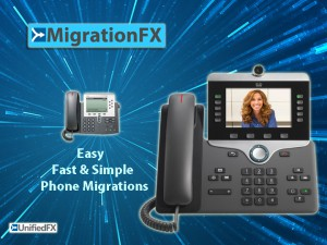 MigrationFX promo slide with logo